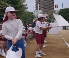 運動会、応援の様子